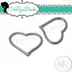 10 Pezzi Ciondolo cuore Cavo in metallo tono argento 23x28x2mm