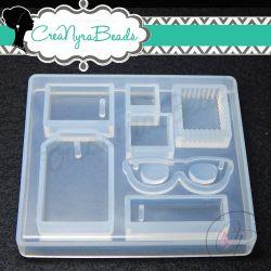 Stampo in silicone trasparente Multiforma ,Tema Viaggi , Tags occhiali e francobollo
