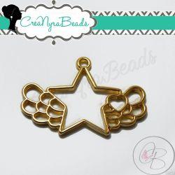 Charms Ciondolo Bezel Cavo Stella con Ali in metallo tono oro