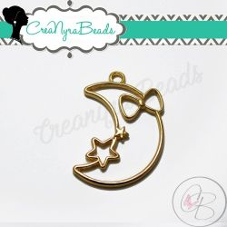 Charms Ciondolo Bezel Cavo Luna fiocco Stella con ali  in metallo tono oro
