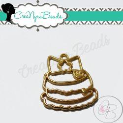 Charms Ciondolo Bezel Cavo Torta in metallo tono oro