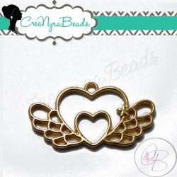 Charms Ciondolo Bezel Cavo Cuore Alato in metallo tono oro