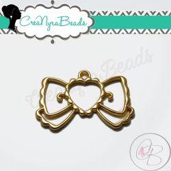 Charms Ciondolo Bezel Cavo Fiocco Link Cuore in metallo tono oro
