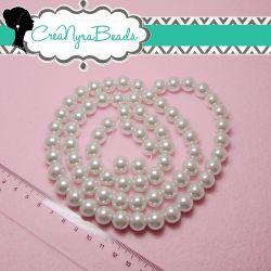 15  Pz  perla in vetro cerato 12 mm Bianco neve perlato