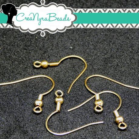 4 Pz Gancio per orecchini Monachelle ad amo acciaio inox dorato