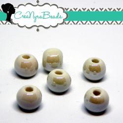 5  Pezzi Perla Sfera Bianco  in ceramica fatta a mano smaltata 10 mm