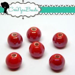 5  Pezzi Perla Sfera Rosso  in ceramica fatta a mano smaltata 10 mm