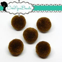 5 Pz Pon Pon Marrone Cioccolato  20 mm in poliestere