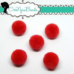 5 Pz Pon Pon Rosso Chiaro  20 mm in poliestere