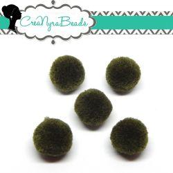 5 Pz Pon Pon Verde Muschio  20 mm in poliestere