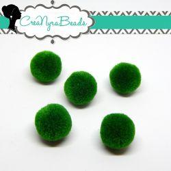 5 Pz Pon Pon Verde Smeraldo 20 mm in poliestere