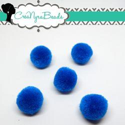 5 Pz Pon Pon Blu Royal  20 mm in poliestere