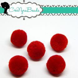 5 Pz Pon Pon Rosso Pieno  20 mm in poliestere