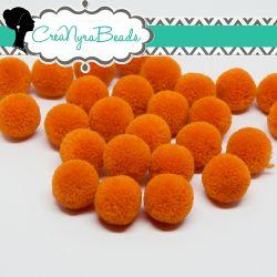 5 Pz Pon Pon Arancio Aragosta 15 mm in poliestere