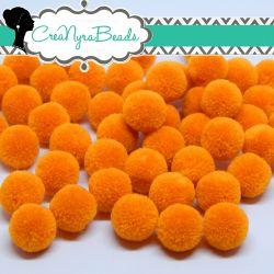 5 Pz Pon Pon Arancio Chiaro 15 mm in poliestere