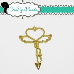 Charms Ciondolo Bezel Cavo Freccia Cuore Ali in metallo tono oro