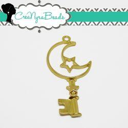 Charms Ciondolo Bezel Cavo Chiave Luna Stella in metallo tono oro