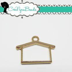 Charms Ciondolo Bezel Cavo Casa in metallo tono oro