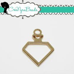 Charms Ciondolo Bezel Cavo Bottiglia Diamante  in metallo tono oro
