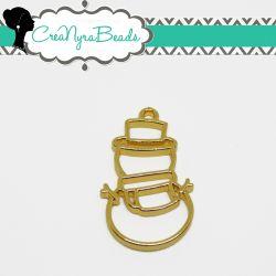 Charms Ciondolo Bezel Cavo Pupazzo di Neve  in metallo tono oro