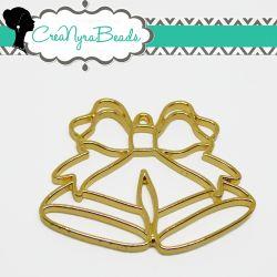 Charms Ciondolo Bezel Cavo Campana delle Feste  in metallo tono oro