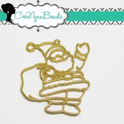 Charms Ciondolo Bezel Cavo Babbo Natale  in metallo tono oro