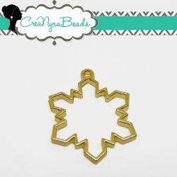 Charms Ciondolo Bezel Cavo Fiocco Di neve  in metallo tono oro
