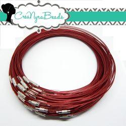 Girocollo cavetto memory wire in acciaio rivestito  tono rosso 46 cm