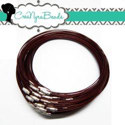 3 Pz Girocollo cavetto memory wire in acciaio rivestito  tono Cioccolato 46 cm