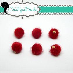 Ciondolo Perla Nappina Rosso 15mm  in ecopelliccia