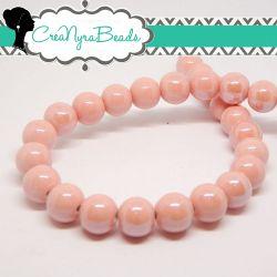 4 Pezzi Perla Sfera Rosa in ceramica fatta a mano smaltata 12 mm