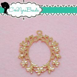 Charms Ciondolo Bezel Cavo Cornice Ovale  in metallo tono oro rosa