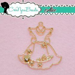 Charms Ciondolo Bezel Vestito Alice in metallo tono oro rosa