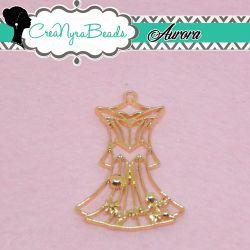 Charms Ciondolo Bezel Vestito Aurora in metallo tono oro