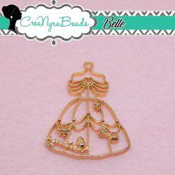 Charms Ciondolo Bezel Vestito Belle in metallo tono oro